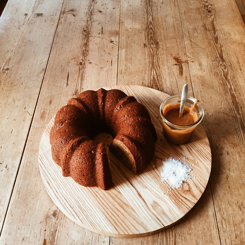 Roasted Banana Bundt Cake with Salted Caramel Sauce