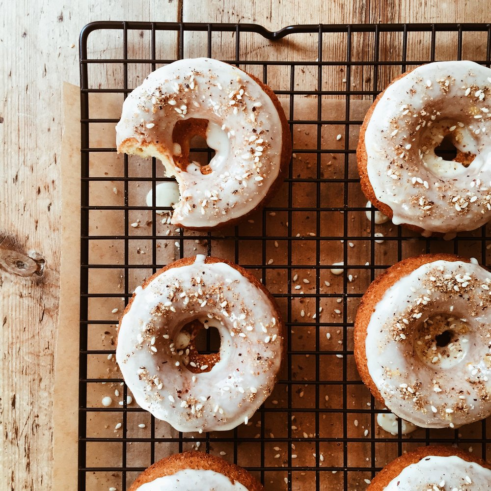 Dukkah Donuts with Orange Honey Glaze