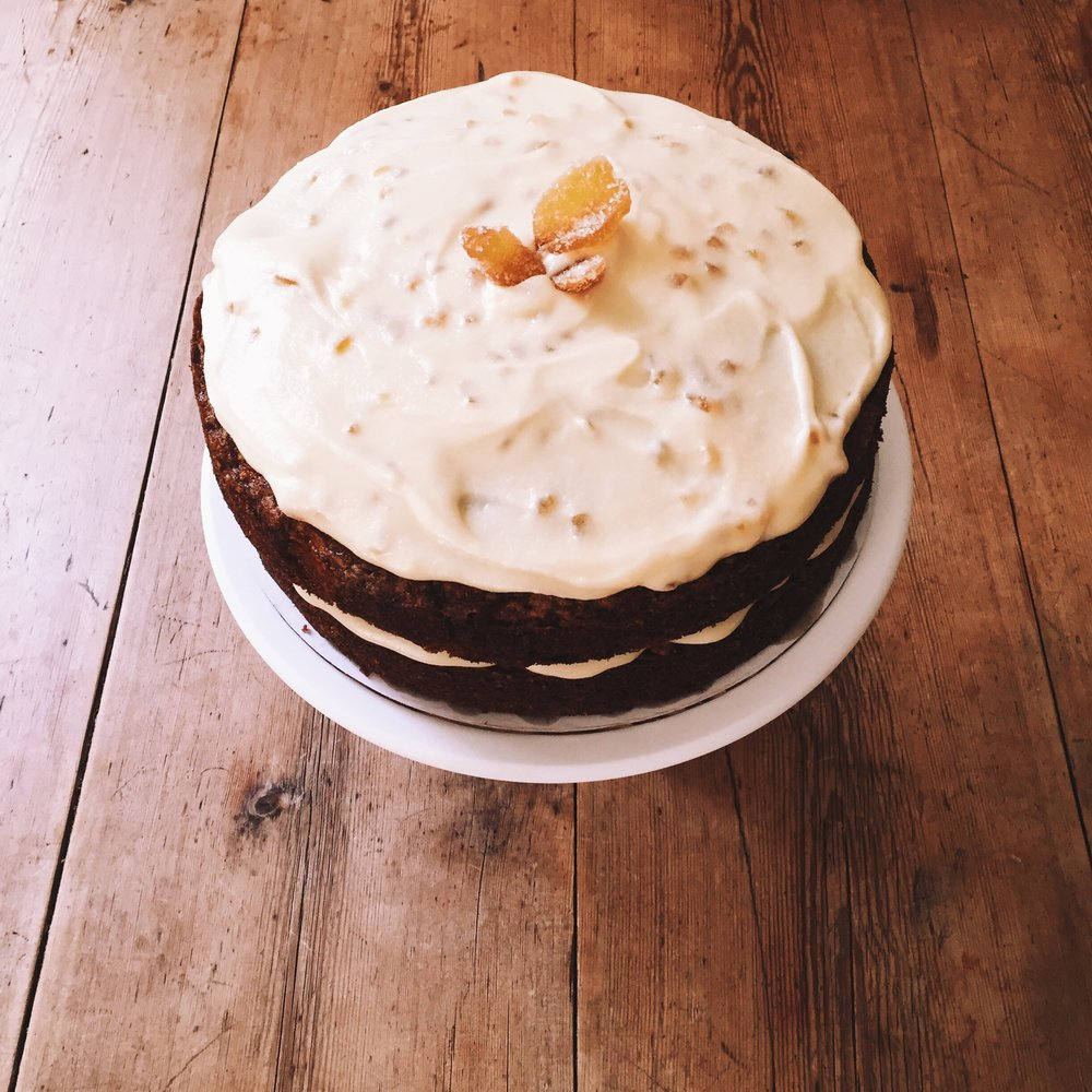 Carrot Layer Cake with Mascarpone and Crystalized Ginger Frosting