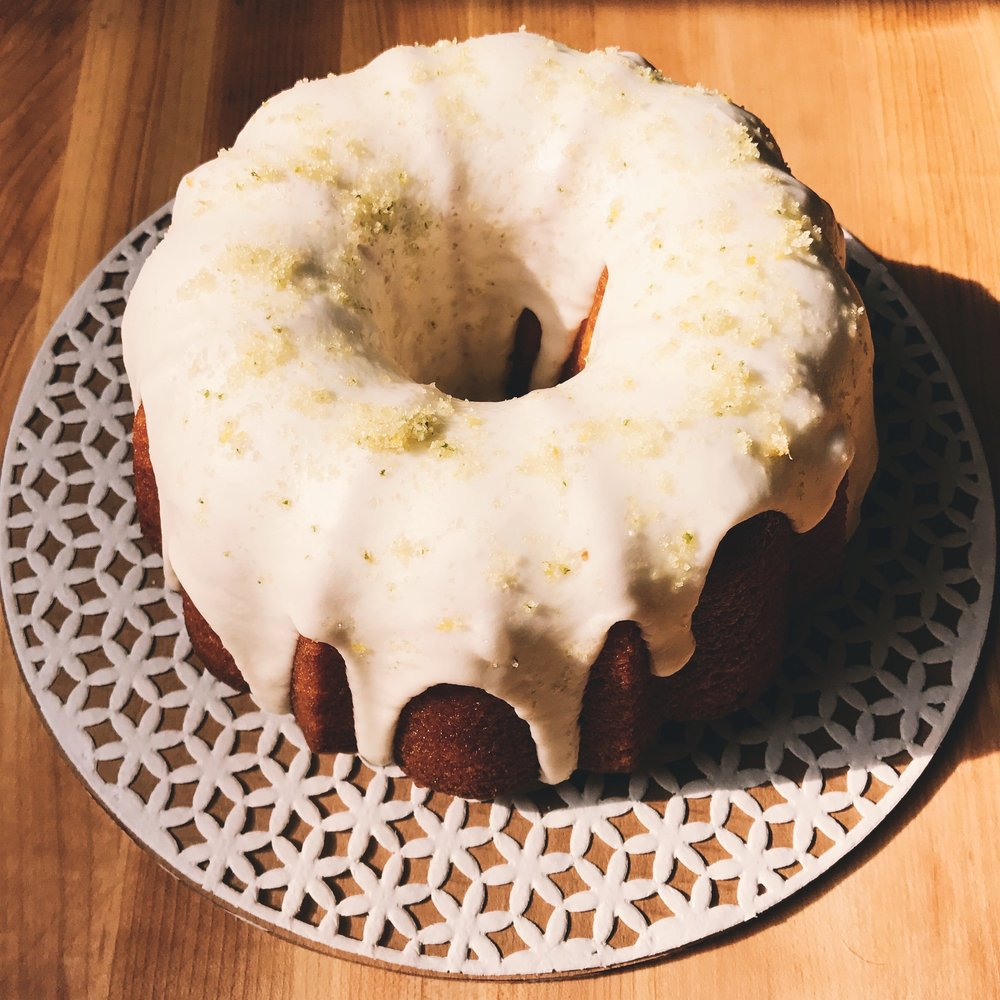 Lemon Bundt with Basil Glaze