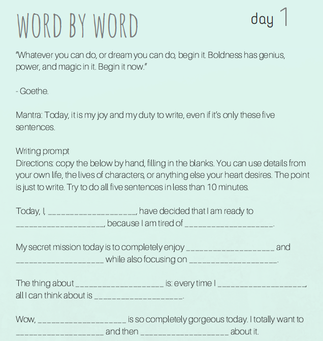 Word by Word Day One