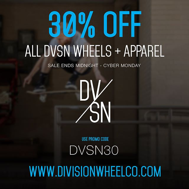 🚨DVSN #CyberMonday Sale!🚨 . All wheels + apparel are 30% off at divisionwheelco.com ⚡️Use code DVSN30 @ checkout! . 👉 Swipe to see what you can get + visit our site to drop them in your cart! 👉 . divisionwheelco.com #dvsnwheelco #dvsn #divisionwheelco #dmvskateboarding #skate #skater #skatelife #skatepark #skateboard #skateshop #skatewheels #skateboarding  #skaterowned #skateanddestroy #skateeverydamnday #skateordie #sk8 #skatespot #skating #skatecrunch #eastcoastskateboarding #eastcoastexcellence #metrogrammed #skatecrunch