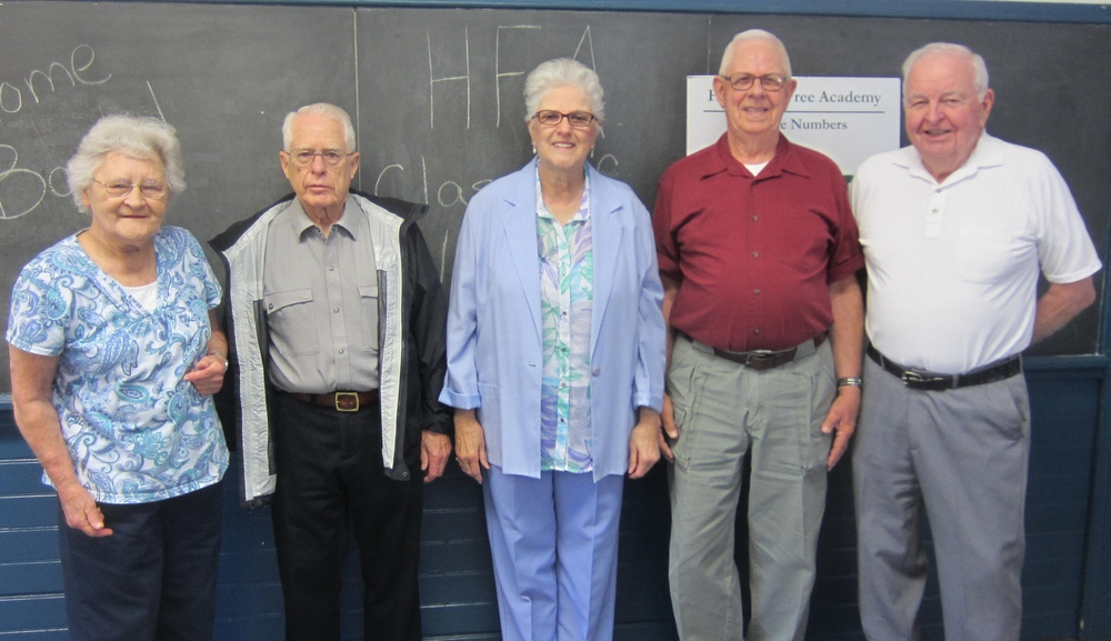 Hitchcock Free Academy was a high school from 1855-1954.  The last graduation class of 1954 held their 60th reunion on May 29, 2014.  Pictured L-R are Lillian Marcille Barber, Ron Cutler, Georgette St. Pierre Corriveau, Bud Sherman and Patrick Haley.  Oh, they had stories to tell.