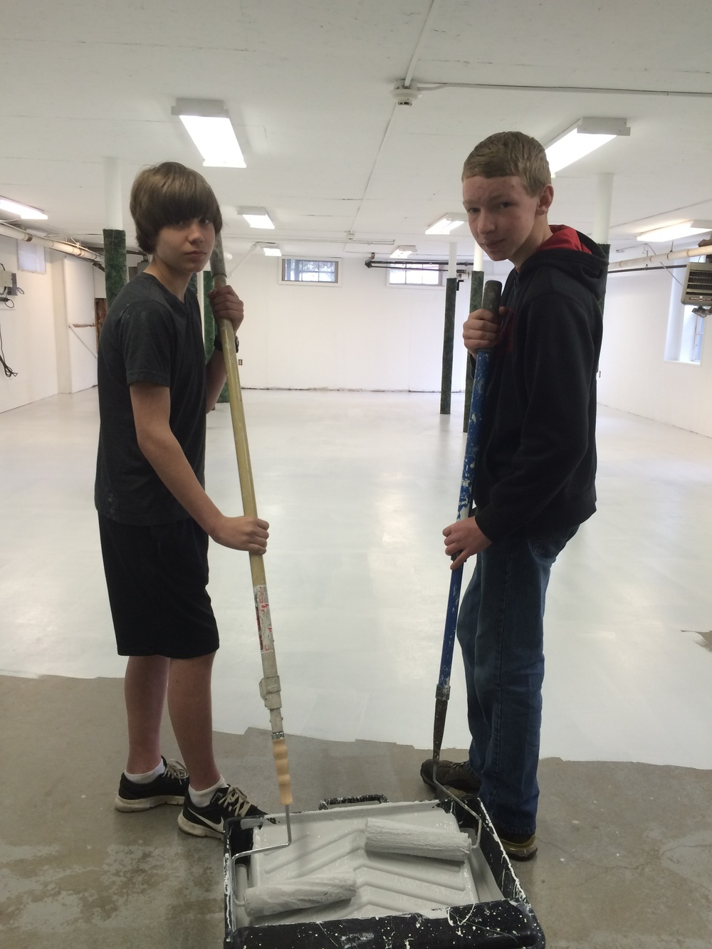 Floor team on a roll:   Dan Mitchell and Liam Paulhus prove how well team work can succeed.