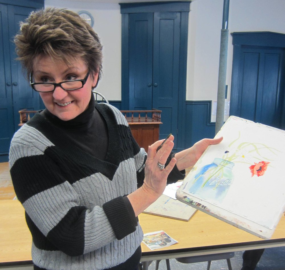 Beth Parys teaches watercolor classes on Wednesday mornings during the school year.  No summer classes.