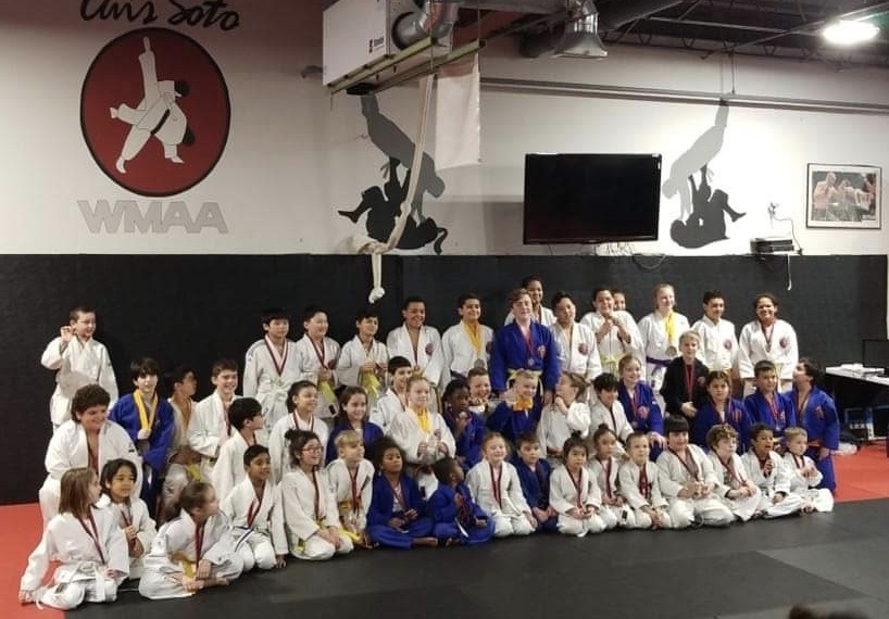 This large group photo is about 1/2 the competitors for the Judo competition event.