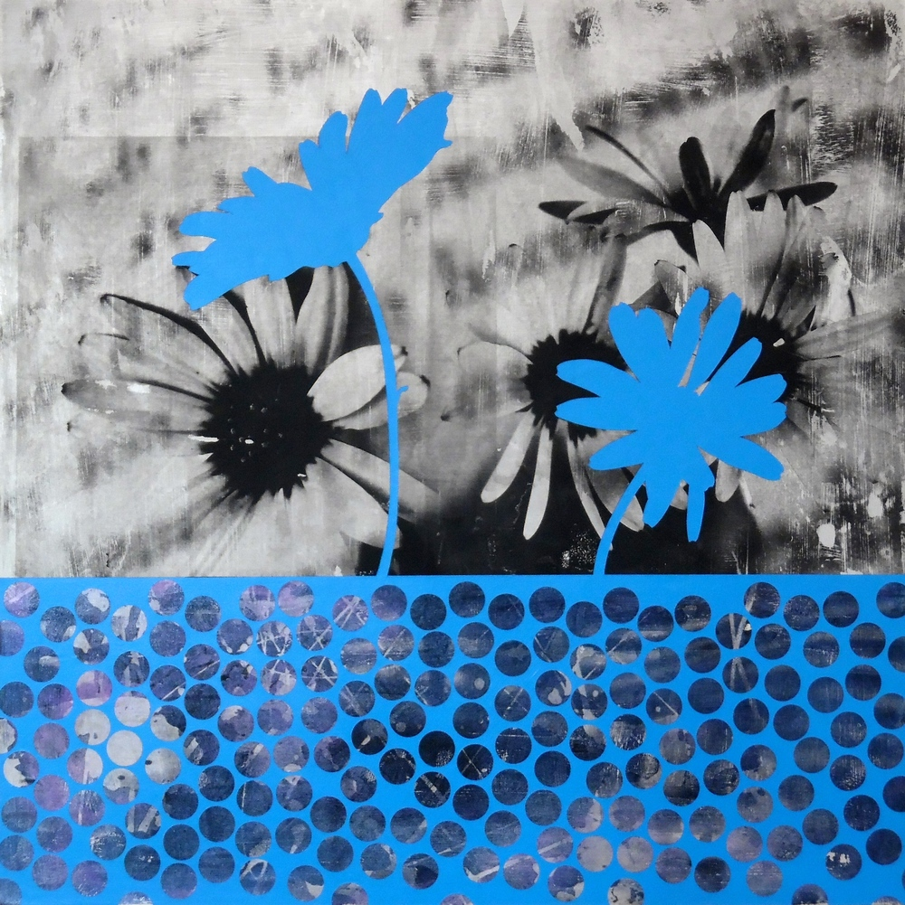 Blue Daisies, 2016  Mixed Media on Canvas  20 x 20 inches.