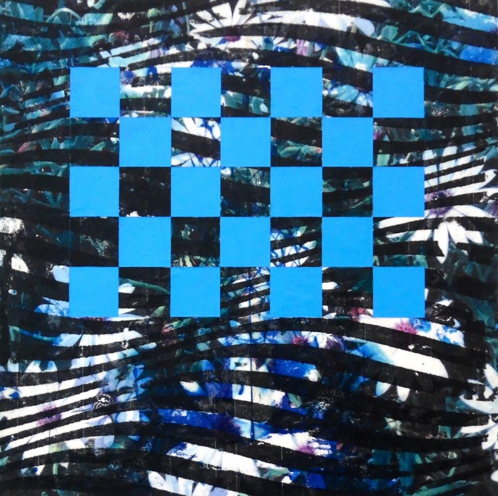 Daisy Wave, 2015  Mixed Media on Canvas  10 x 10 inches.
