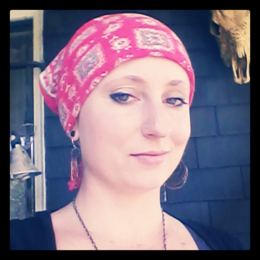 Me with my trusty red bandana, which I chose to wear instead of a wig.