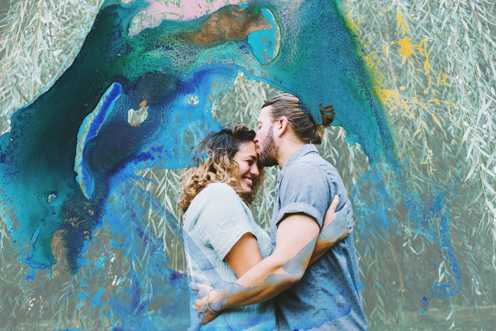 "Olivia and Randy's ""Save The Date"" announcement: engagement photo + a custom Sarah Hart Art piece."