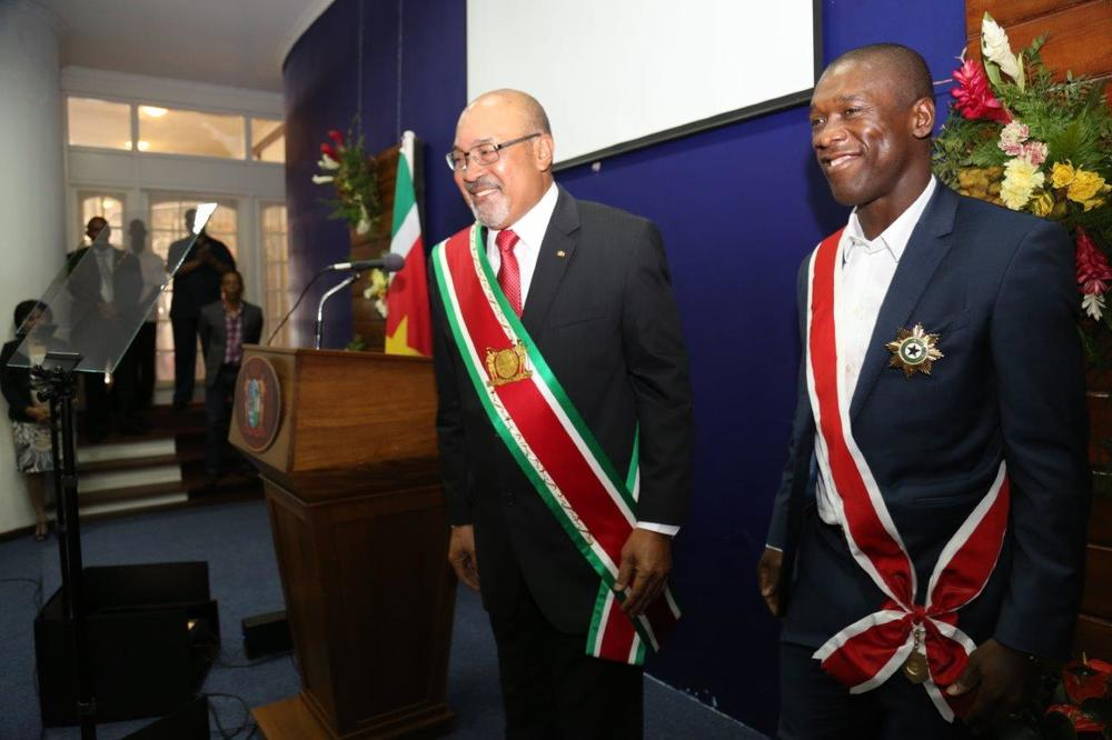 President Desi Bouterse with Clarence Seedorf. Pic: Cabinet of the President