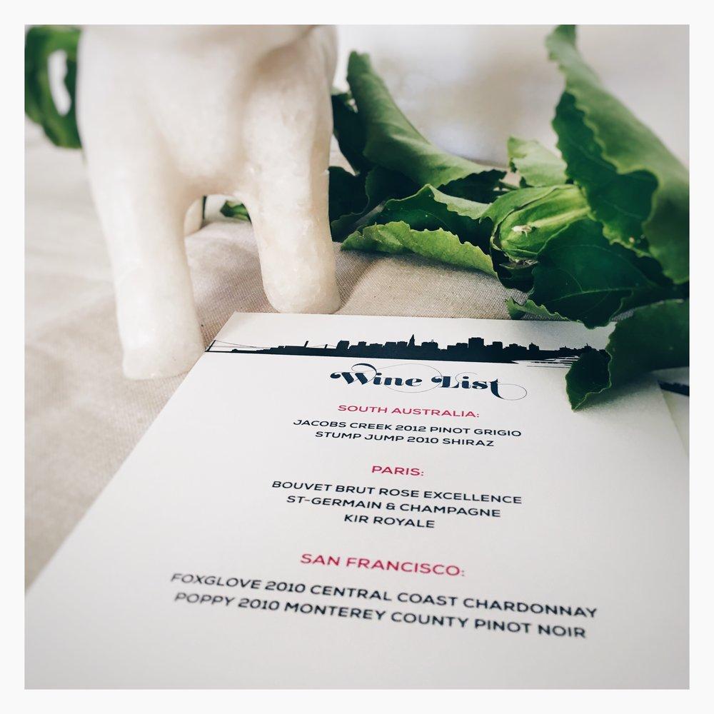 Michelle & Kes: Wine List