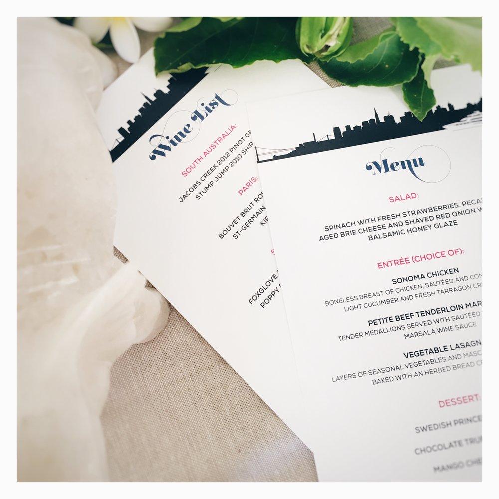 Michelle & Kes: Wine List and Menu