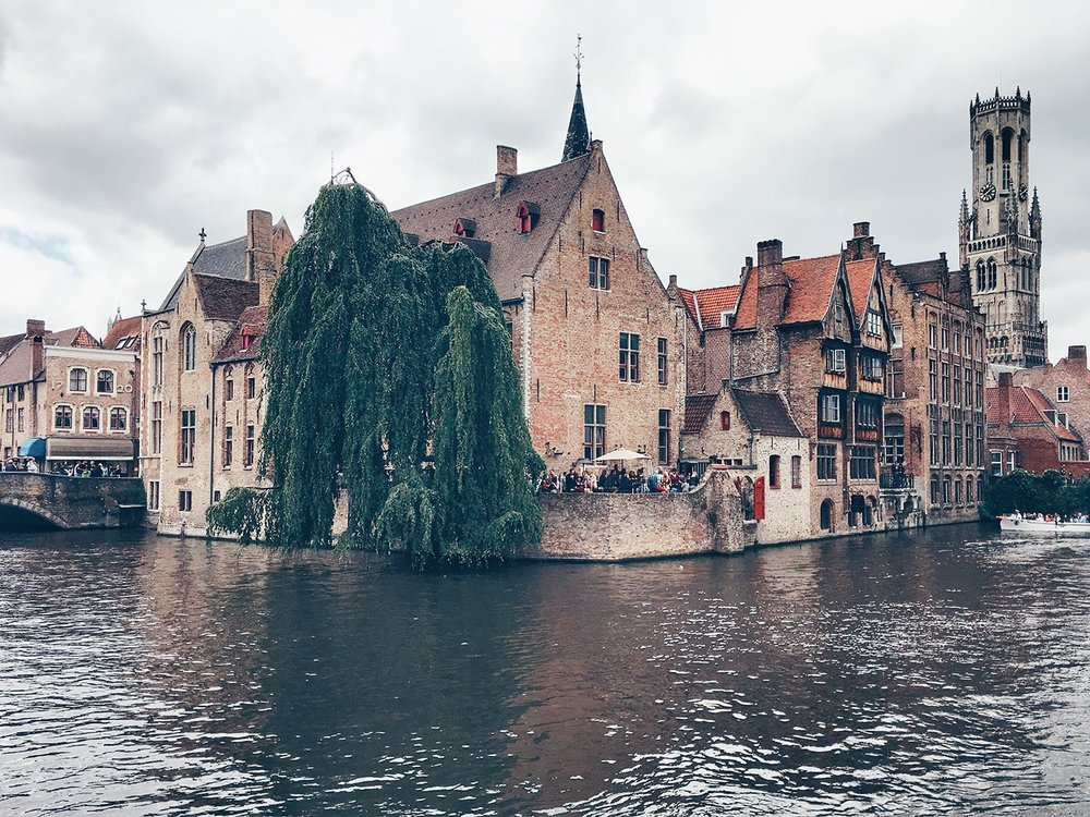 Dijver Mansions with the Belfort in the background (Bruges, Belgium)