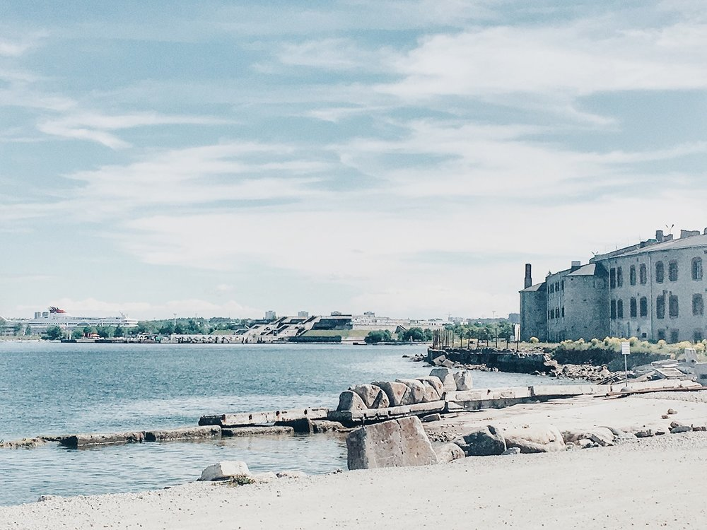 The now abandoned Patarei prison with the former Olympic Yachting Centre in the background (Tallinn, Estonia)