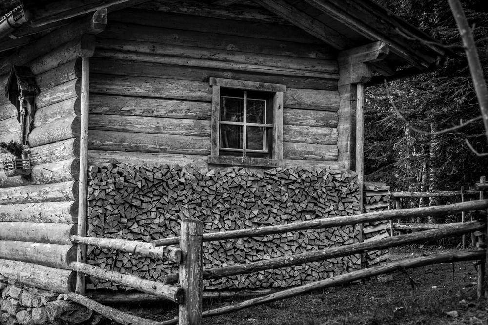 wooden mountain hut