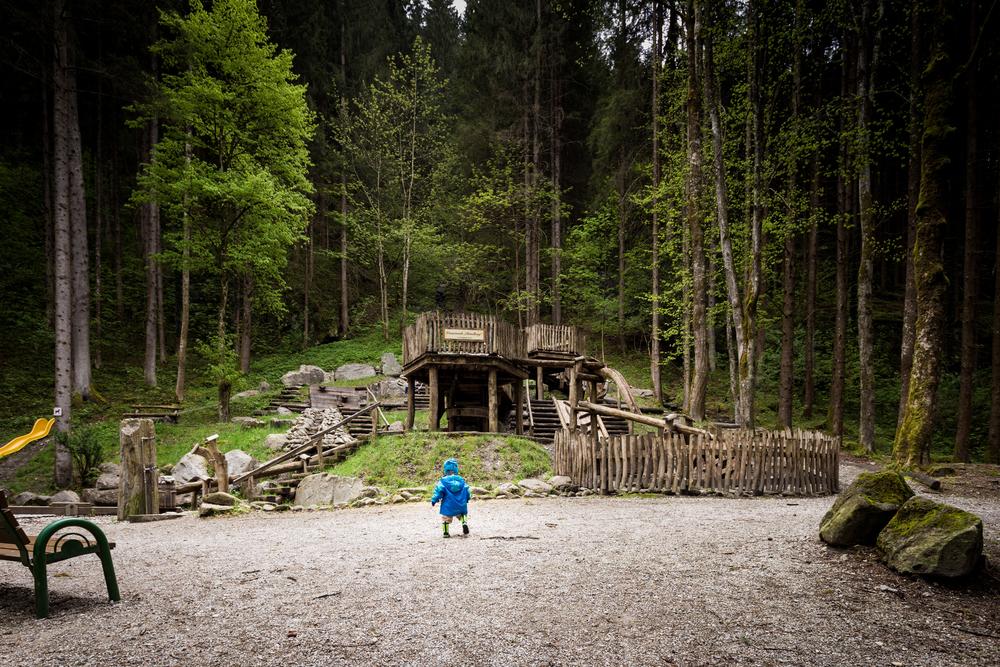 My youngest in front of the Mayrhofen Wasserwerk spiel