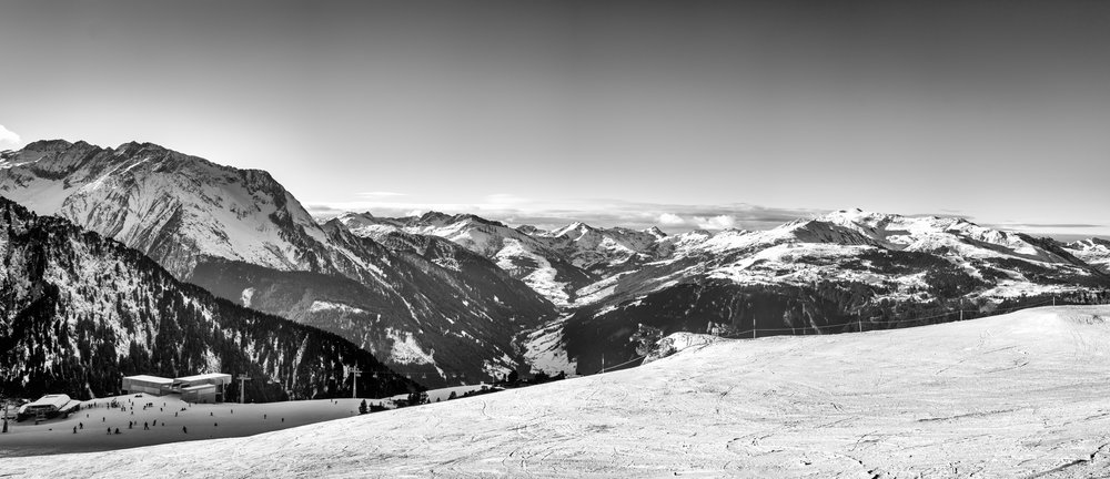 Panorama from the Ahornhütte on the Ahorn Mountain above Mayrhofen shot with Fujifilm X-E1 with Olympus 50mm f/1.8 @ 1/500 secf/5.6 ISO 200