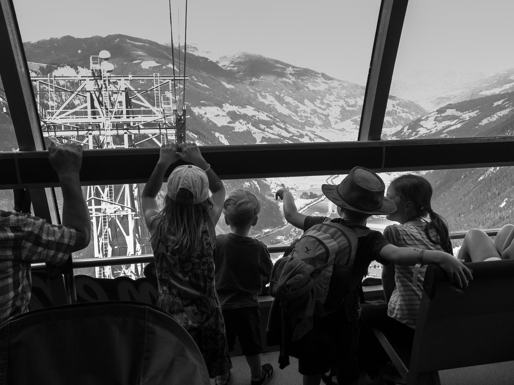 A trip in the Ahornbahn during late summer, and the kids enjoying the view.