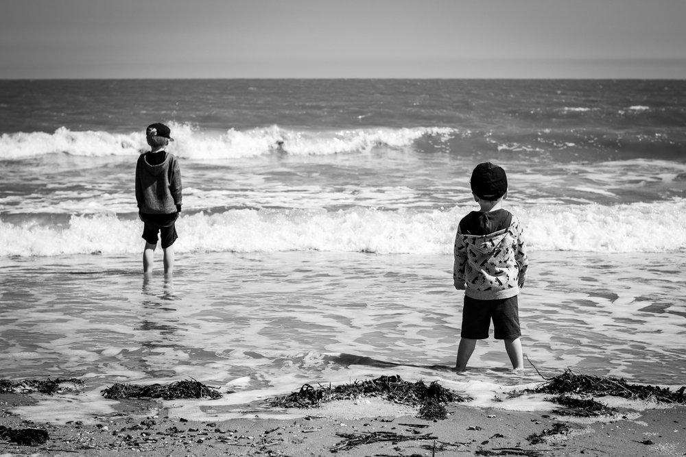 paddling at the seaside