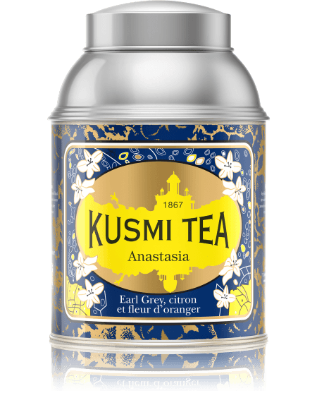 Inspired by the story of the Grand Duchess Anastasia, daughter of the Romanov dynasty's Czar Nicholas II, this exclusive Earl Grey blend exemplifies Kusmi's famous Russian taste with its combination of black tea, bergamot, lemon and orange blossom. Kept secret since its creation, Anastasia is one of the iconic recipes created by Pavel Kousmichoff.   Ingredients: Russian blend of black China and Ceylon teas with scents of bergamot, lemon, lime and orange blossom
