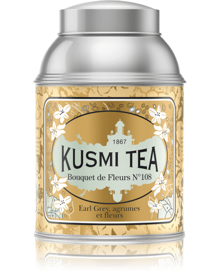 Created by Pavel Kousmichoff in 1880 in honor of the birth of his eldest daughter, Elisabeth, Bouquet of Flowers No. 108 is Kusmi Tea's oldest recipe. A combination of Earl Grey, citrus and flowers makes this tea a very delicate blend.