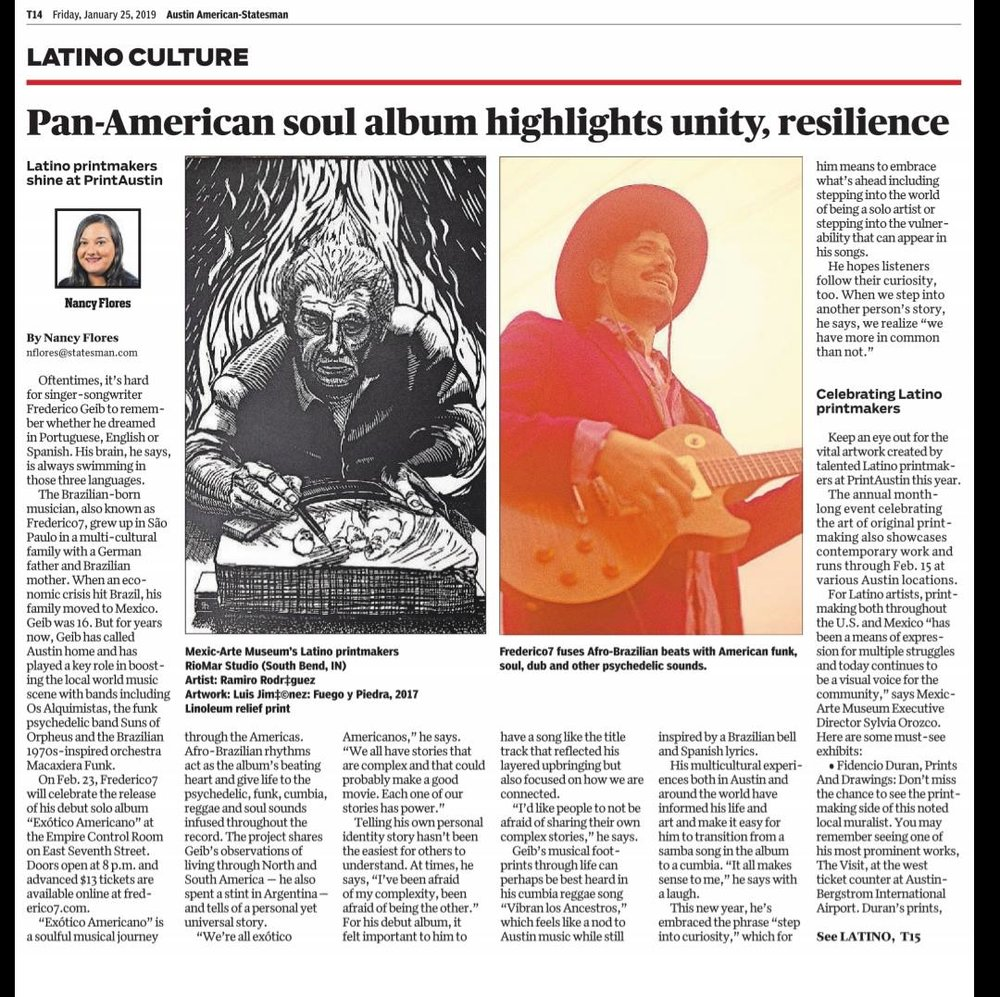 Austin American Statesman Interview - Frederico7 sat down with Nancy Flores to talk culture, music and identity ahead of the release of Exótico Americano.