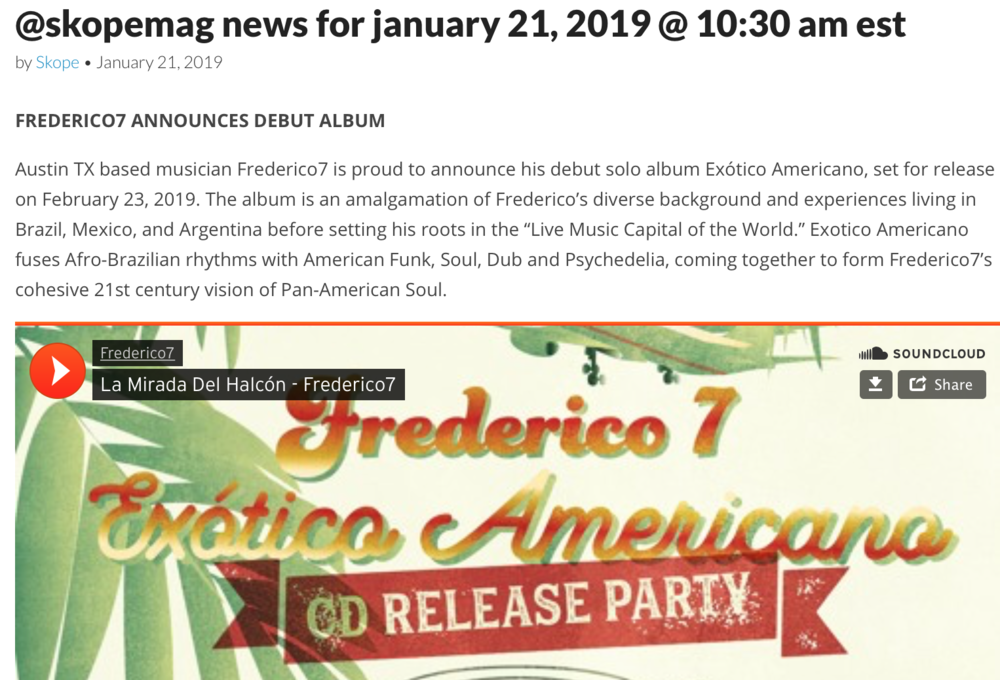 Thanks  Skope Magazine  for featuring 'La Mirada del Halcón', a latinx psychedelic soul track produced by Adrián Quesada. Click on pict to check it out.
