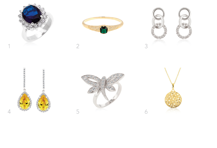 1. Kate  inspired Royal Engagement Ring  2. Moss  inspired emerald bracelet  3. Eva  inspired triple hood earrings   4. Kate   inspired canary drops earrings  5. Rita  inspired dragonfly ring  6. Lauren  inspired gold filigree.   The celebrities named on our website have not endorsed, recommended or approved the items offered.