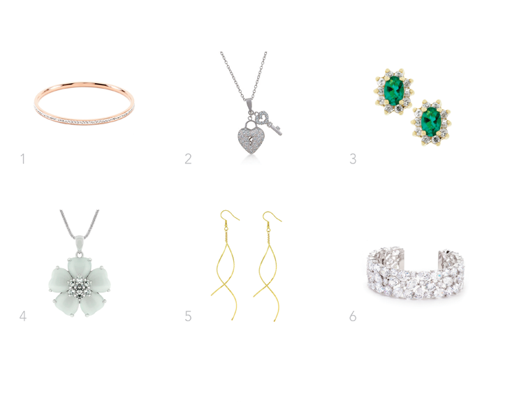 1. Cameron inspired rose crystal bangle 2. Rihanna inspired heart key necklace 3. Blake inspired emerald studs 4. Sandra inspired silver bezel set 5. Katy inspired twist earings 6. Kate inspired jewel bangle The celebrities named on our website have not endorsed, recommended or approved the items offered.