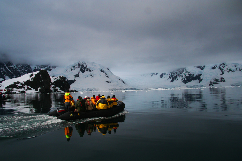 Typical pontoon trip in Antarctica
