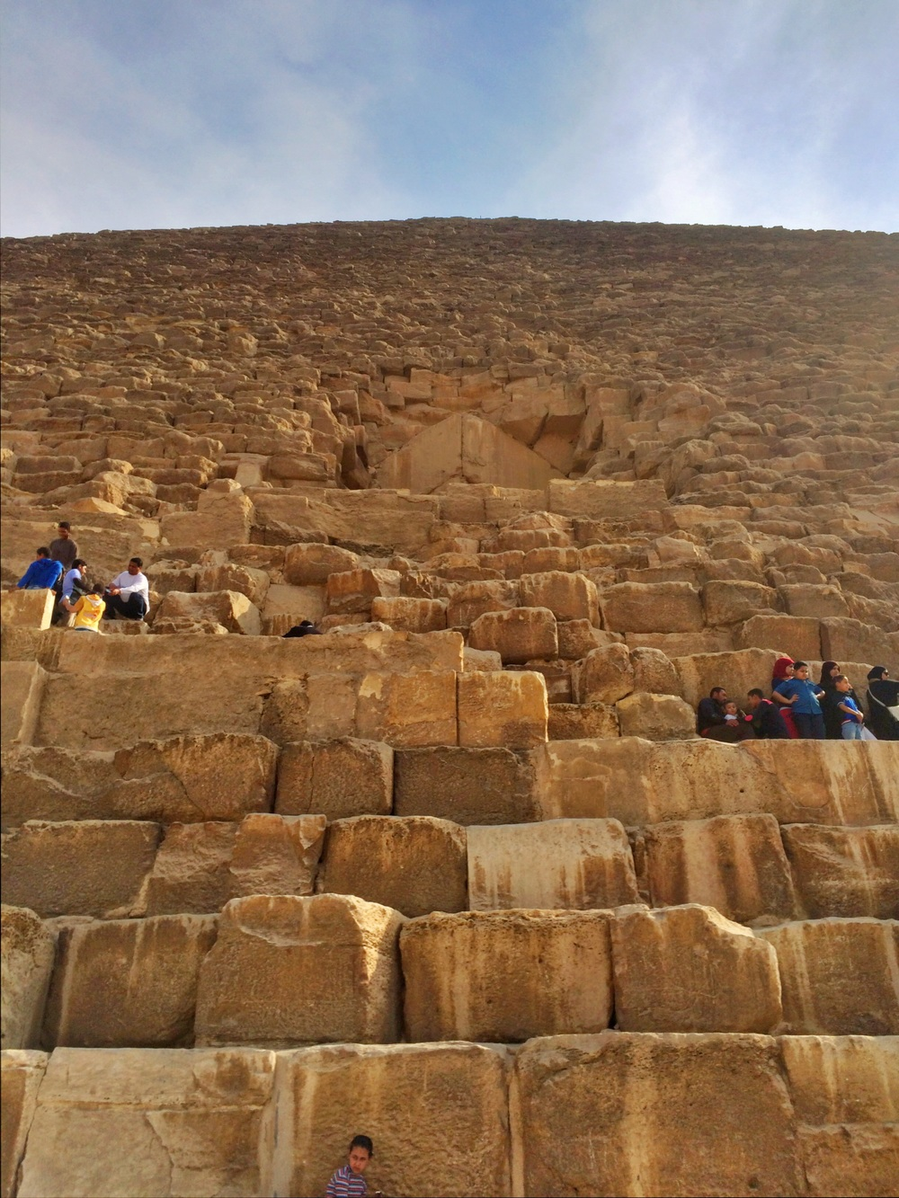 Looking up the mammoth Great Pyramid of Giza