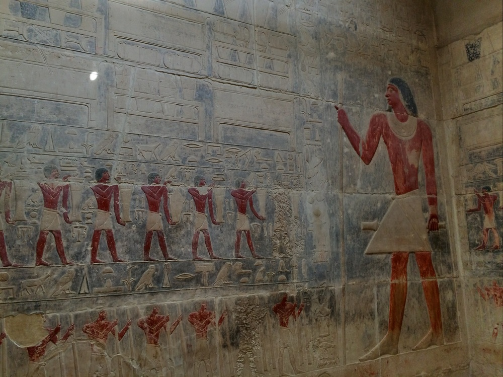 Beautiful drawings on the walls of the funerary complex next to the Teti Pyramid