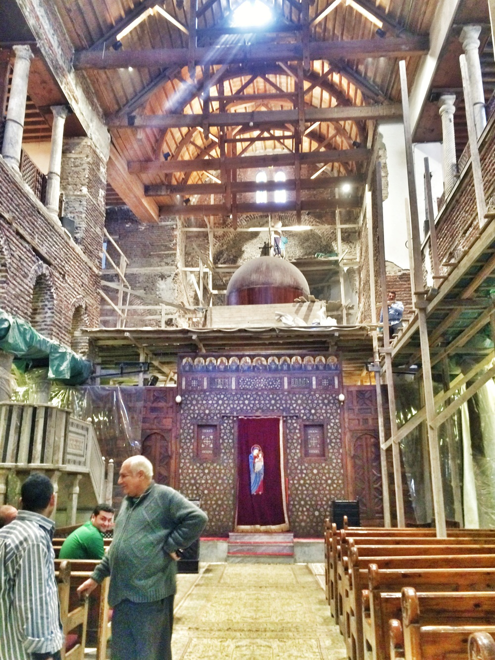 Inside Saint Sergius and Bacchus Church, where Mary, Joseph, and baby Jesus Christ rested at the end of their journey to Egypt