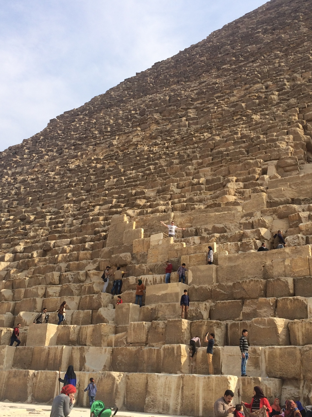 Me, having climbed up a few steps of the Great Pyramid of Giza