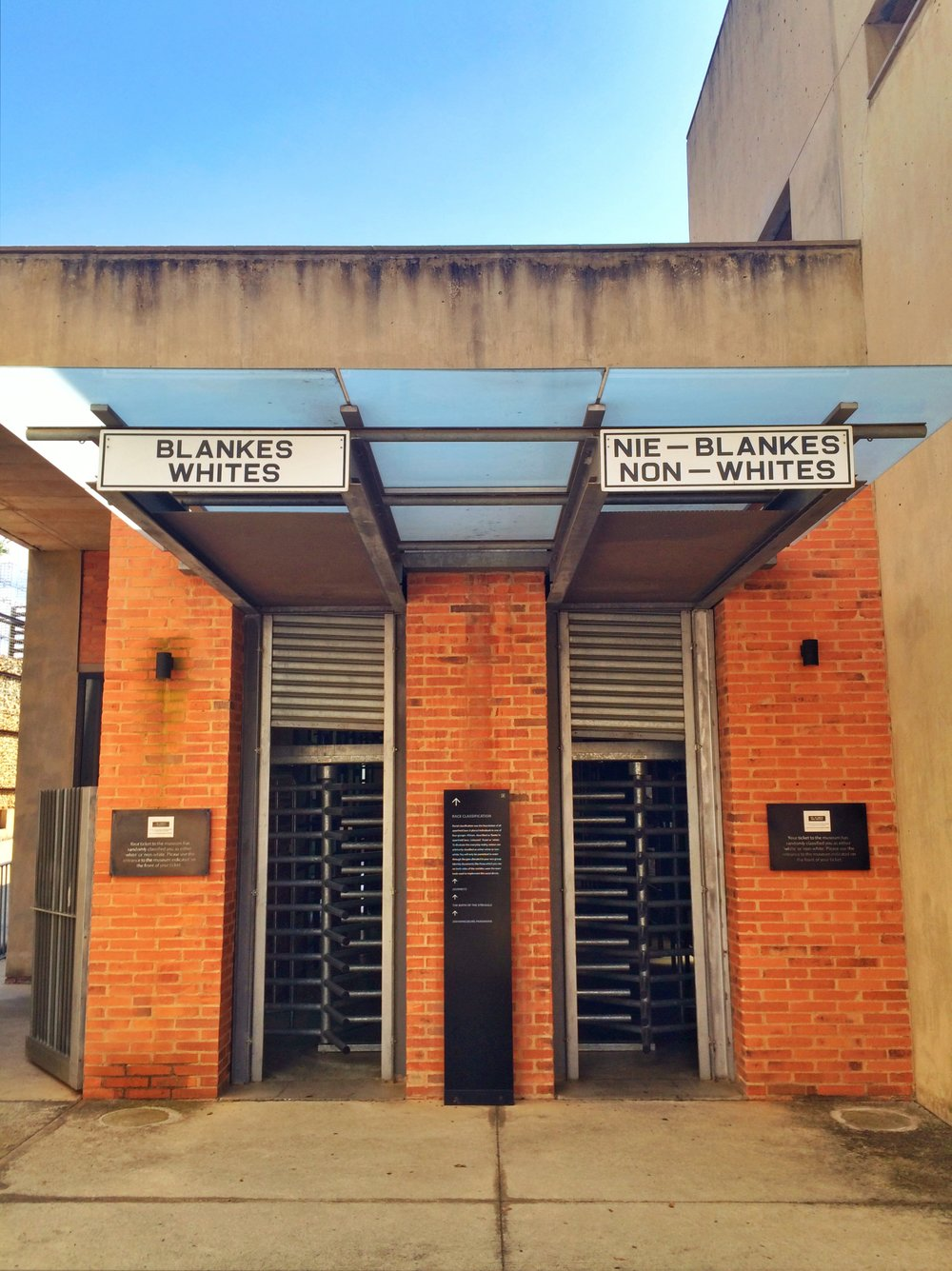 Entrance to the Apartheid Museum in Johannesburg. Left for whites, right for non-whites, depending on your randomly assigned ticket.