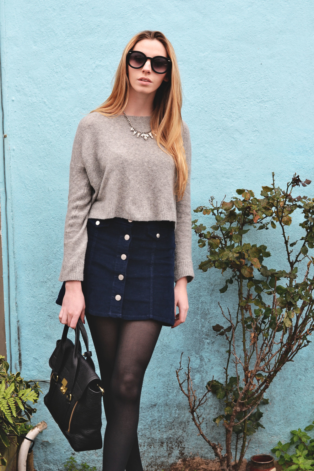 Corduroy Skirt & Cropped Sweater (via Girl x Garment)