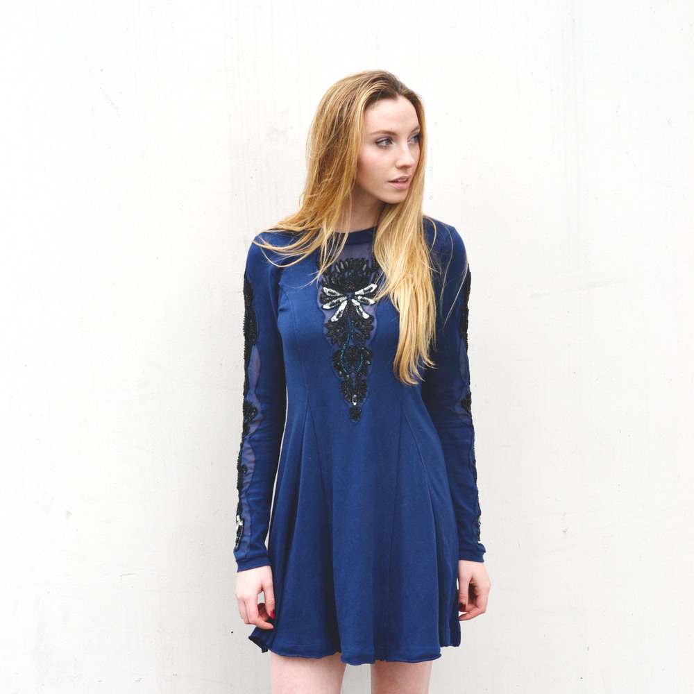 Navy Free People Holiday Shift Dress (via Girl x Garment)