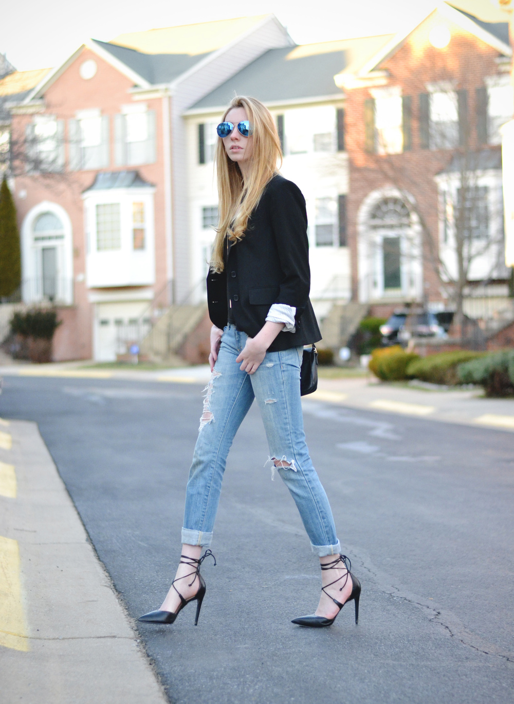 Black Blazer & Ripped Boyfriend Jeans (via Girl x Garment)