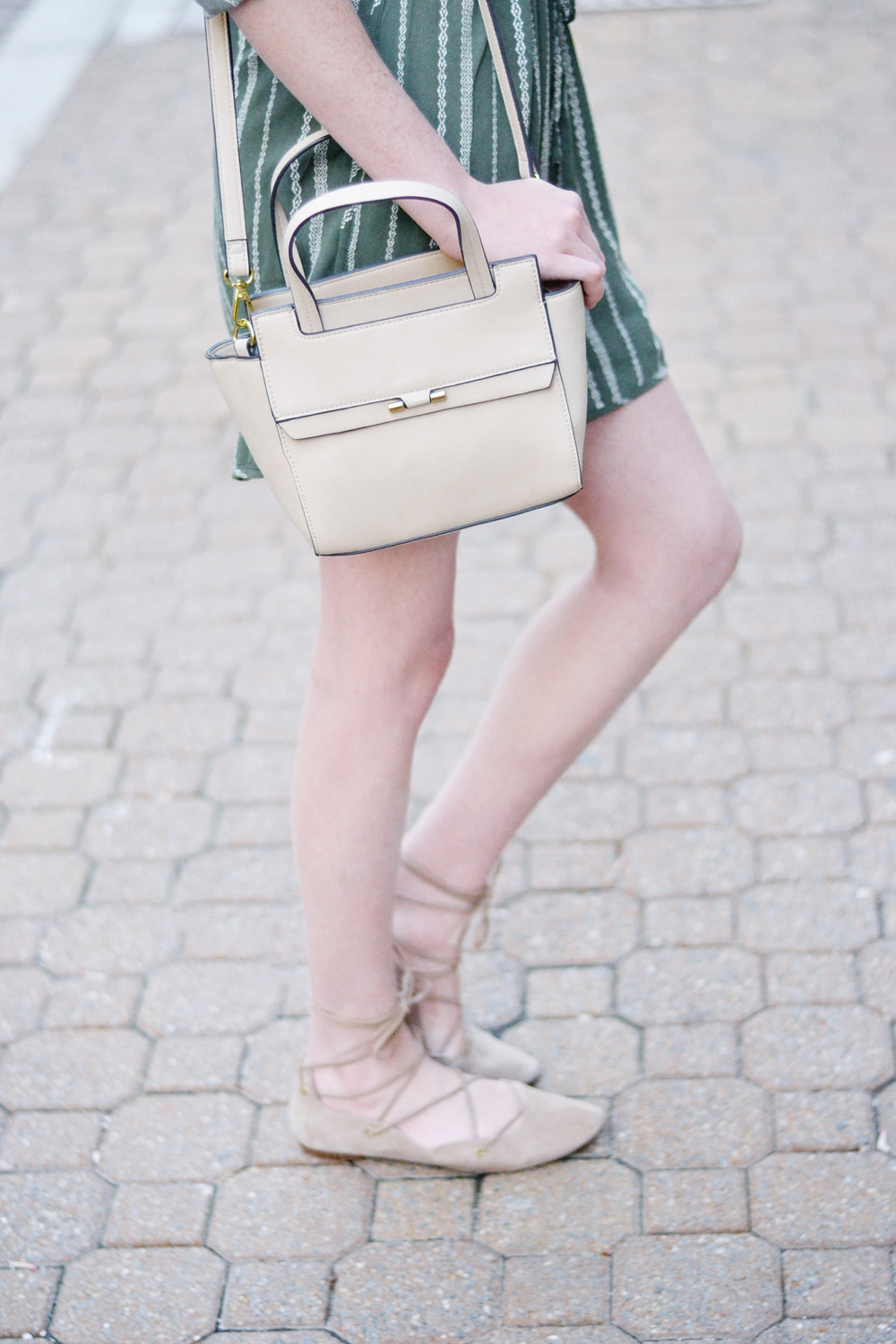 Palm Green Shirtdress & Nude Lace Up Flats (via Chic Now)