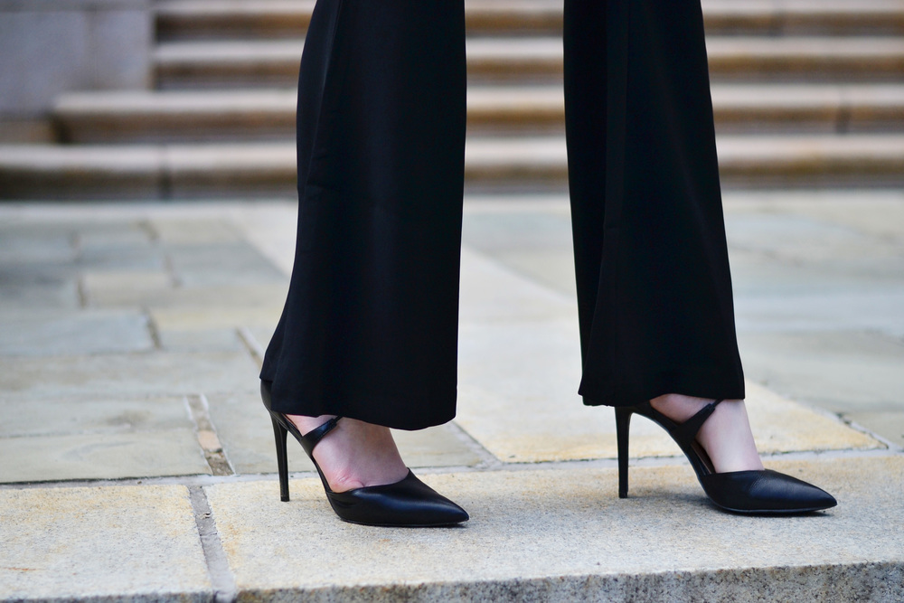 Flared pants & Steve Madden Raela heels (via Chic Now)