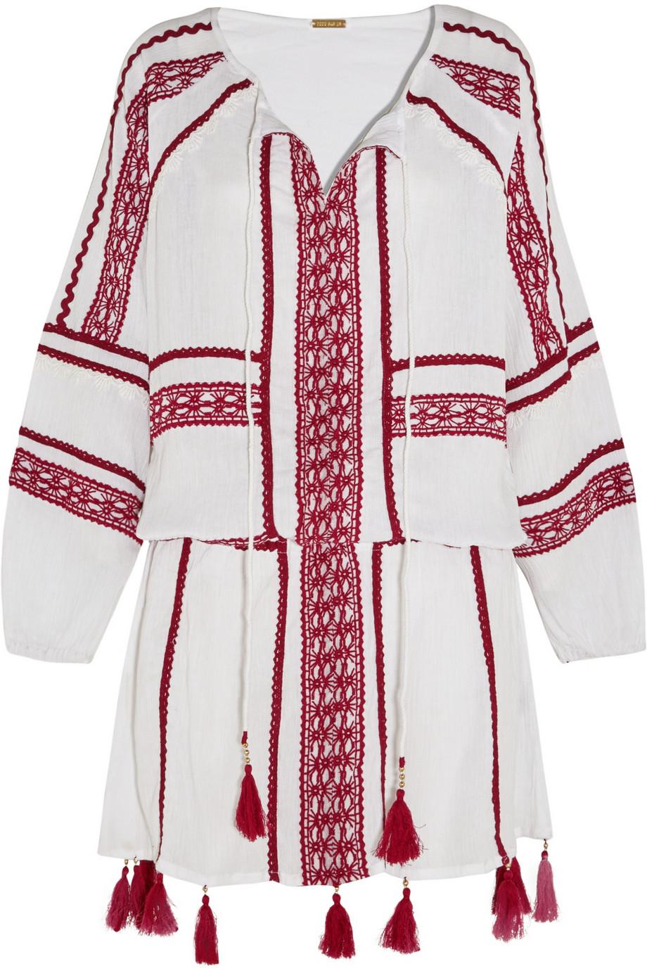 Dodo Bar Embroidered Cotton Minidress