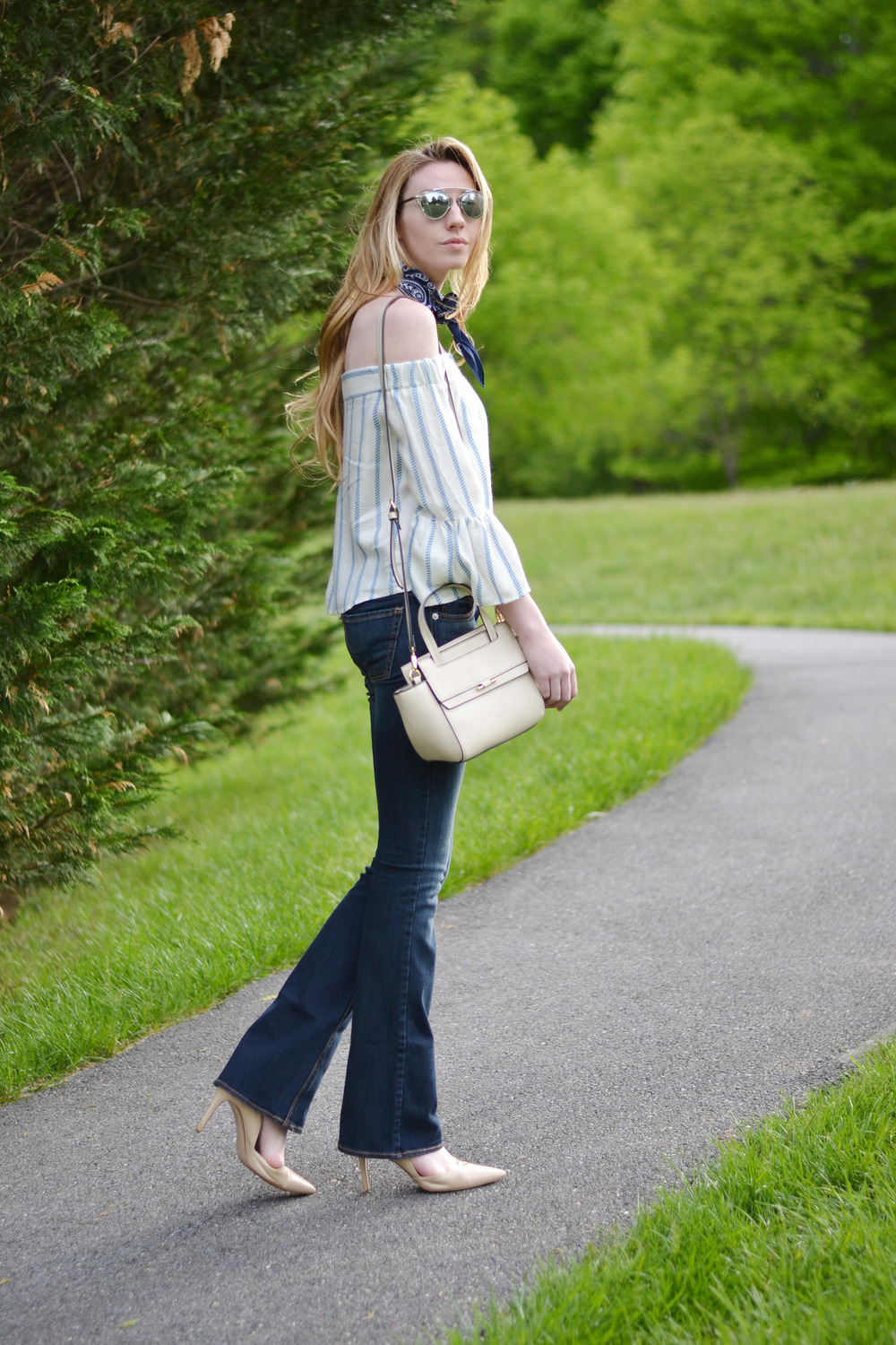 Off-The-Shoulder Top & Flare Denim & Bandana Necktie (via Chic Now)
