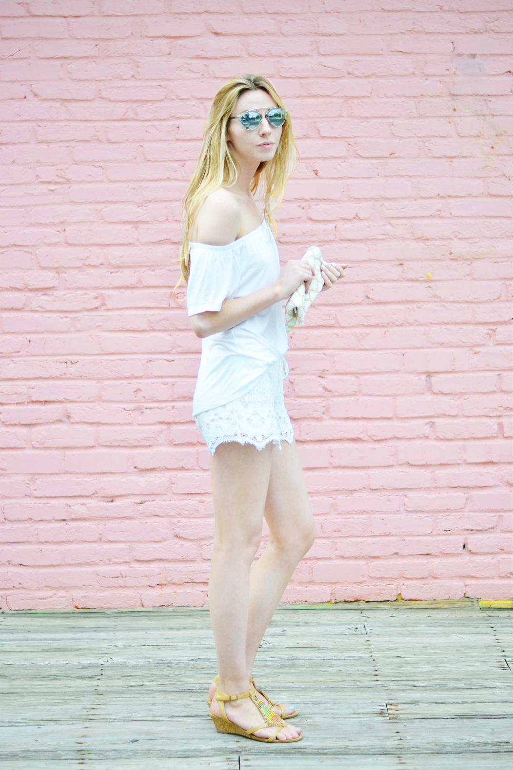 White Hot: Blogger Lace Shorts & Off The Shoulder (via Chic Now)