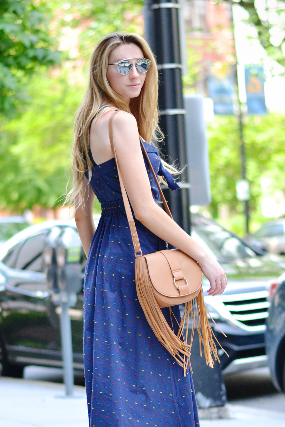 Blogger Tie Cutout Navy H&M Dress (via Chic Now)