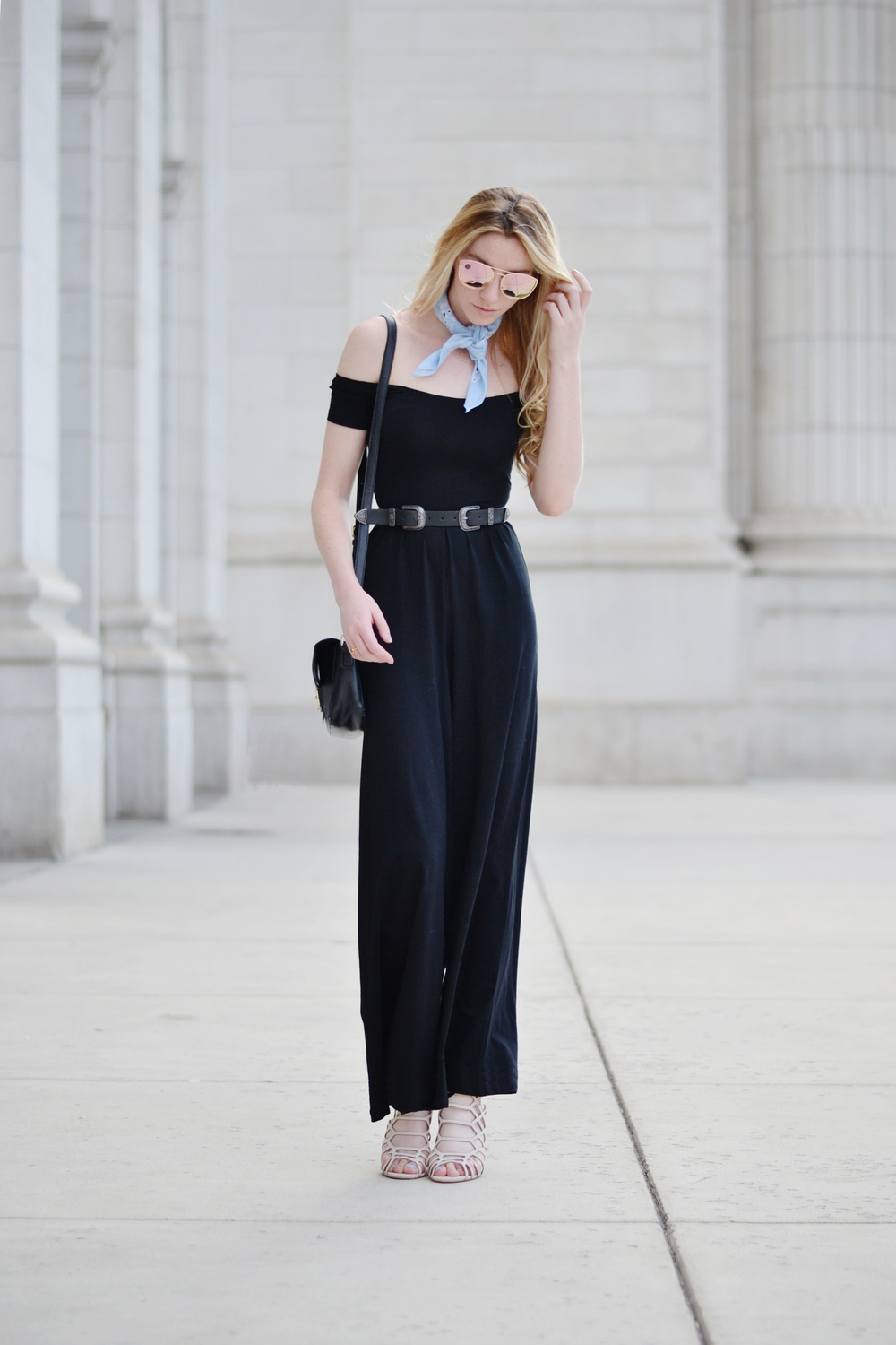 Off-The-Shoulder Jumpsuit & Blogger Double Buckle Belt (via Chic Now)