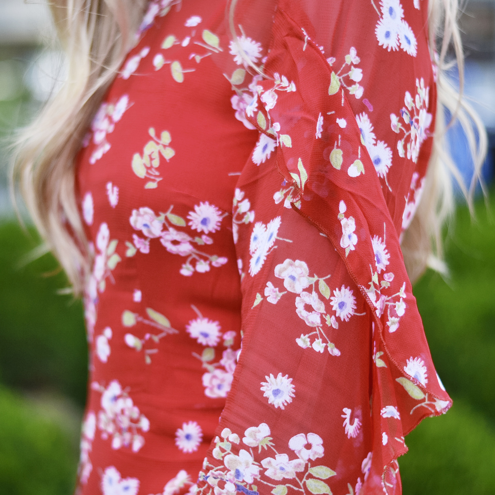 Red Floral Ruffle Dress (via Chic Now)
