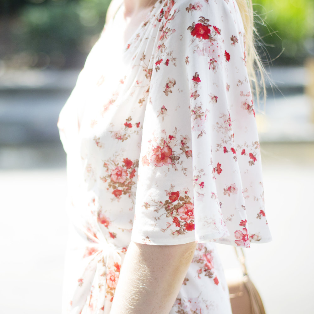 Floral Flutter Sleeve Dress (via Chic Now)