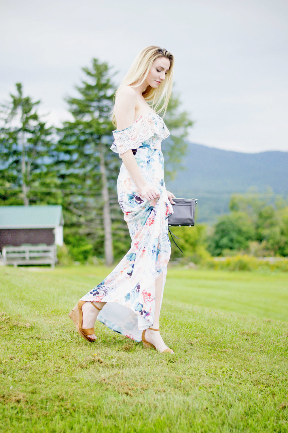 Floral Off-The-Shoulder Maxi Dress (via Chic Now)