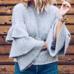 Tiered Ruffle Sleeve Sweater (via Pinterest)